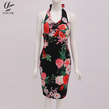 Off Shoulder Backless Neck Lace Bowknot Red Floral Print Evening Lady Fashion Dress For Party
