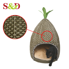 Eco-friendly handicraft cat nest pe rattan woven,indoor cat house for sale