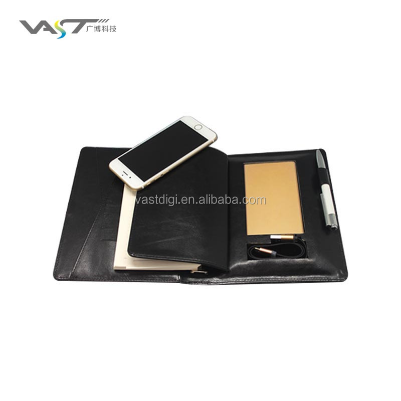 cooperation gift Novel design notebook with built-in power bank PU Leather notebook power bank with built-in 2 in 1 cable