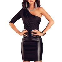 C70793A latest design one sleeve leather dress