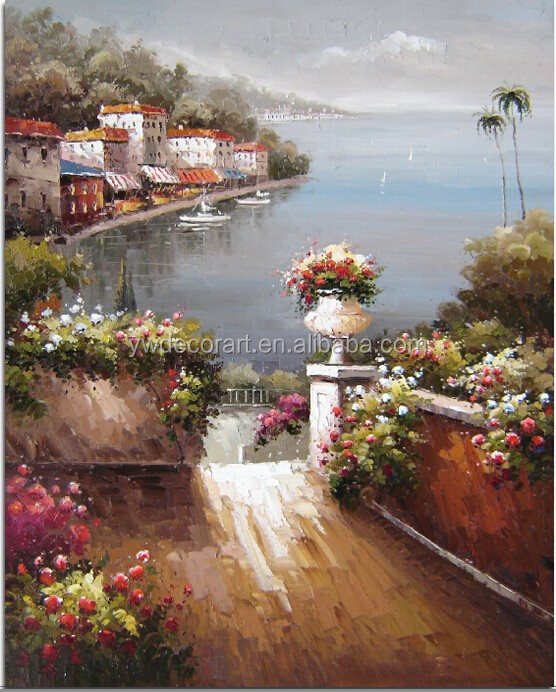 Mediterranean Landscape Oil Painting On Canvas