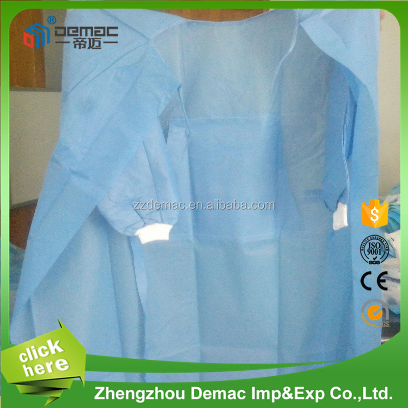Disposable nonwoven reinforced sterile blue medical doctor gowns for doctor use blue disposable gown