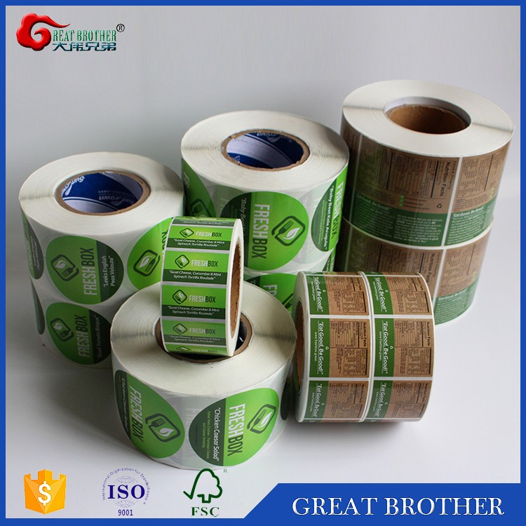 Hot selling! Wholesale China factory custom adhesive label sticker roll for food boxes,glossy laminated art paper label on rolls