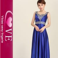 Long and Shoulder Beaded Evening Dress for Women