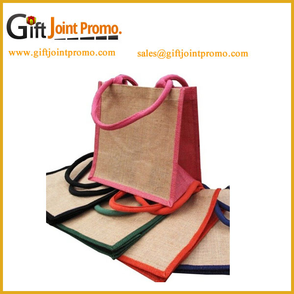 Promotional Wholesale Heavy Duty Big Carry Jute Tote Shopping Bag