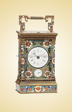 Antique Calendar Cloisonne Enamel Clocks, European Mechanical Carriage Metal Clock