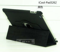 360 degree rotation leather case for iPad4 with Triangle stand triple folded powerful case for ipad
