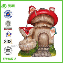 Gnome Feature Resin Mushroom Home Water Fountain