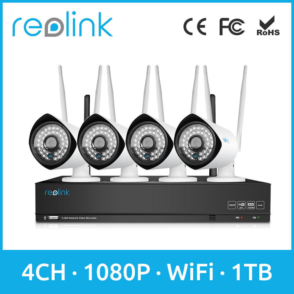 Reolink WiFi IP Camera with NVR Kit 4ch 2.0Megapixel Wireless System 4 Wi-Fi Cams w 1TB HDD RLK4-210WB4