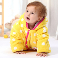 White Dot Yellow Bee Thick Winter Quilted Hoodie Cotton Jumpsuit Baby Footed Romper