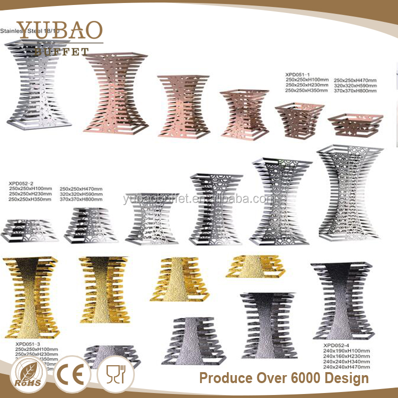 Yubao catering equipment modern buffet stands, colorful tier hammered buffet stand square, hot product middle east buffet riser