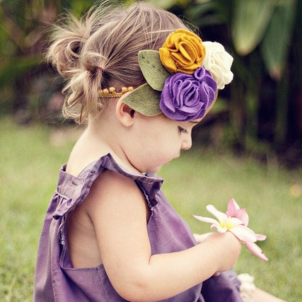 Factory directly wholesale felt cute lovely big rose flower baby elastic hairband
