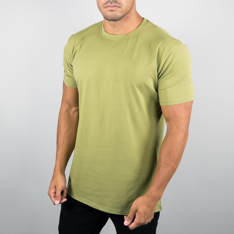 MS-1991 Latest Generation Light Olive Spandex Combed Cotton Athletic Performance T shirt Wholesale