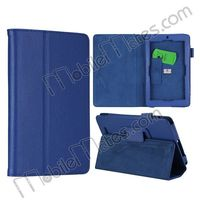 Litchi Pattern Leather Side Case Cover with Stand for ASUS ME172v Protective Case (blue)