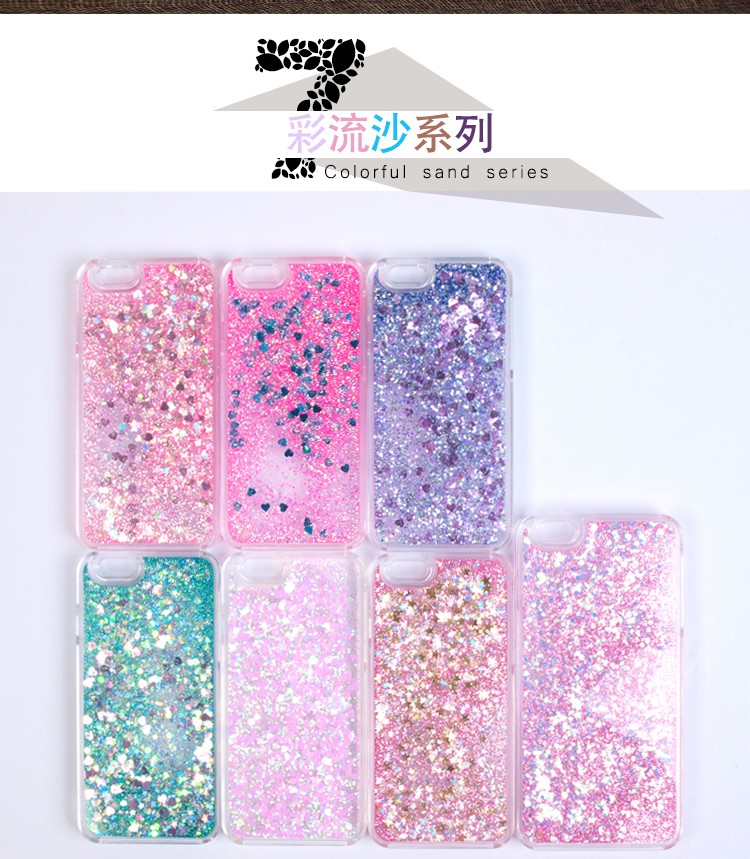 Factory custom colorful liquid quicksand mobile phone shell glitter stars back cover for iphone 5/6/7 case
