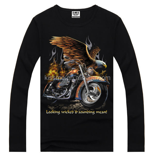 Printing Factory 100% cotton long sleeve motorcycle printing latest clothes fashion pictures