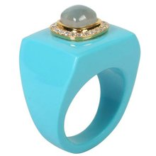 Gemstone Jewelry Ring Turquoise 10# Cameo Rose Quartz
