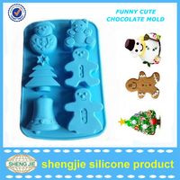 Custom colorful high quality christmas decorating silicone handmade soap mold with snowman and santa claus figures