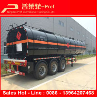 Asphalt tanker truck or bitumen tank trailer with heating system and warm-keeping tank covers