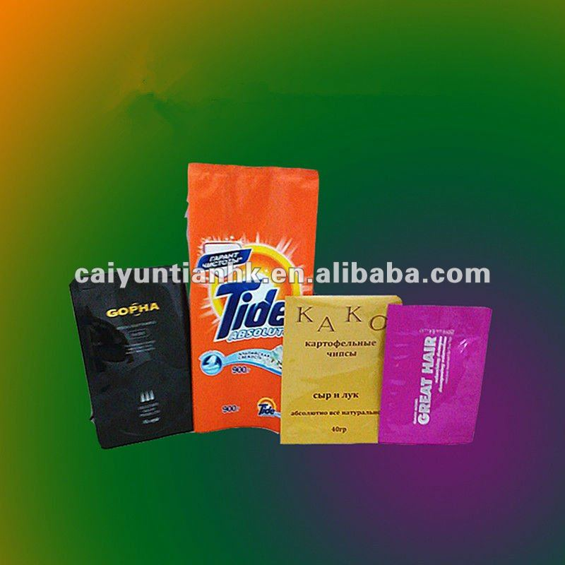 plastic washing powder bag with black heat sealed for promotion
