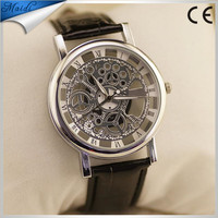 Fashion Vintage Skeleton Men Watch Transparent Dial Gold Hollow Business Dress Watch Leather Strap Band Wrist Watch MW-12