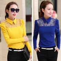 W91544A 2015 new fashion design women blouse tops ladies long sleeve lace blouse