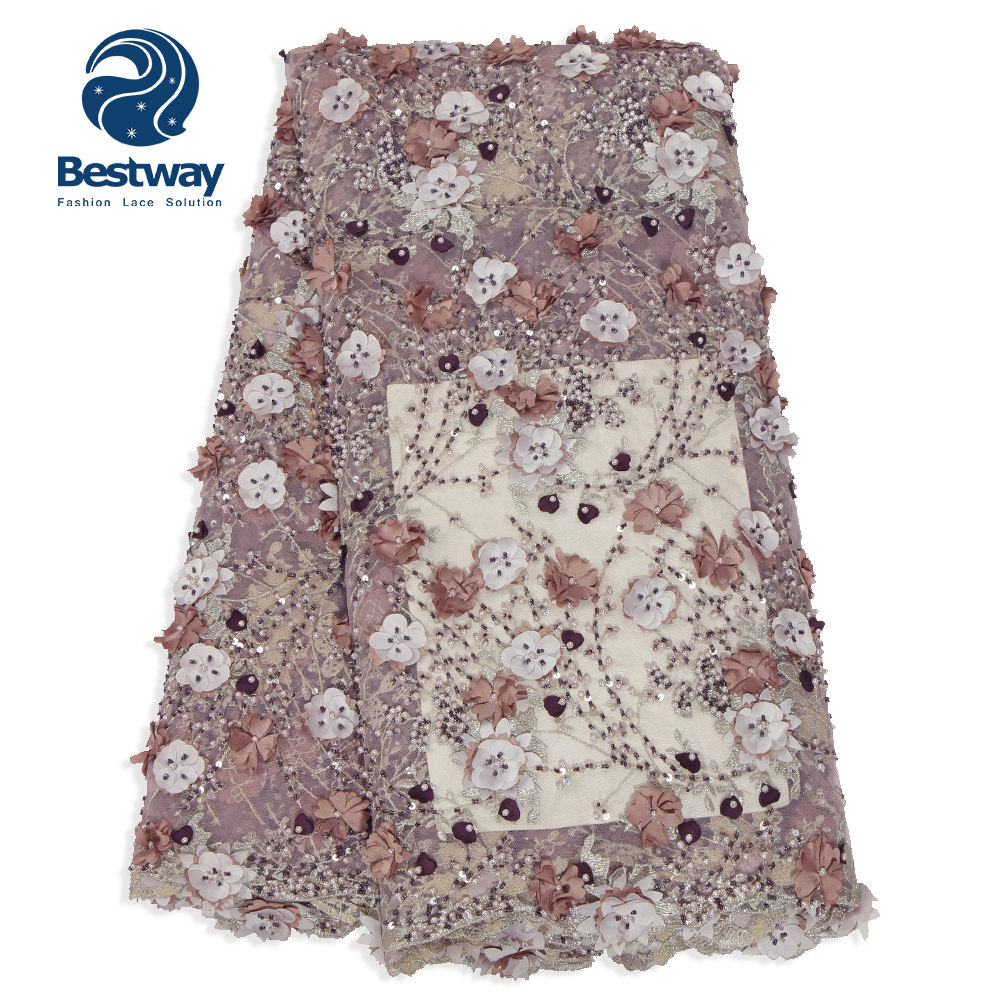 Bestway Lilac handmade fabric flowers 2018 latest handwork beaded lace embroidery designs French fabric FL0323