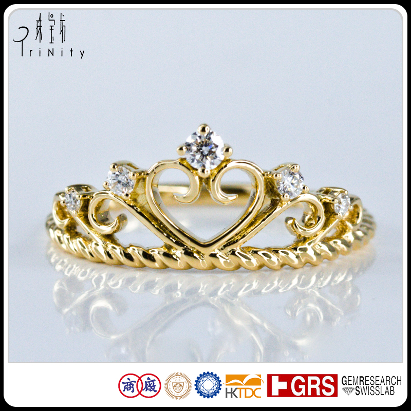 18K Yellow Gold Crown Shaped Wedding Diamond Ring Tiara Jewelry