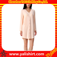 Custom wholesale modal long sleeve nightshirts women night gown for ladies