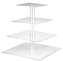 4-Tier Square Stacked Party Cupcake and Dessert Tower Clear Acrylic Cake Stand