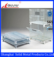 Zinc plated stackable collapsible metal folding storage cage