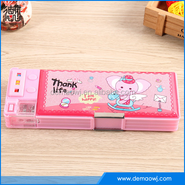 2016 Newest multi function custom kawaii novelty plastic pencil case for girl