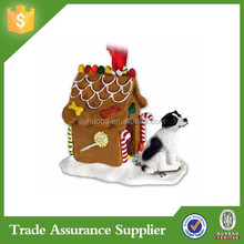 Russell Terrier Dog Black White Smooth New Resin Gingerbread House Christmas Ornament