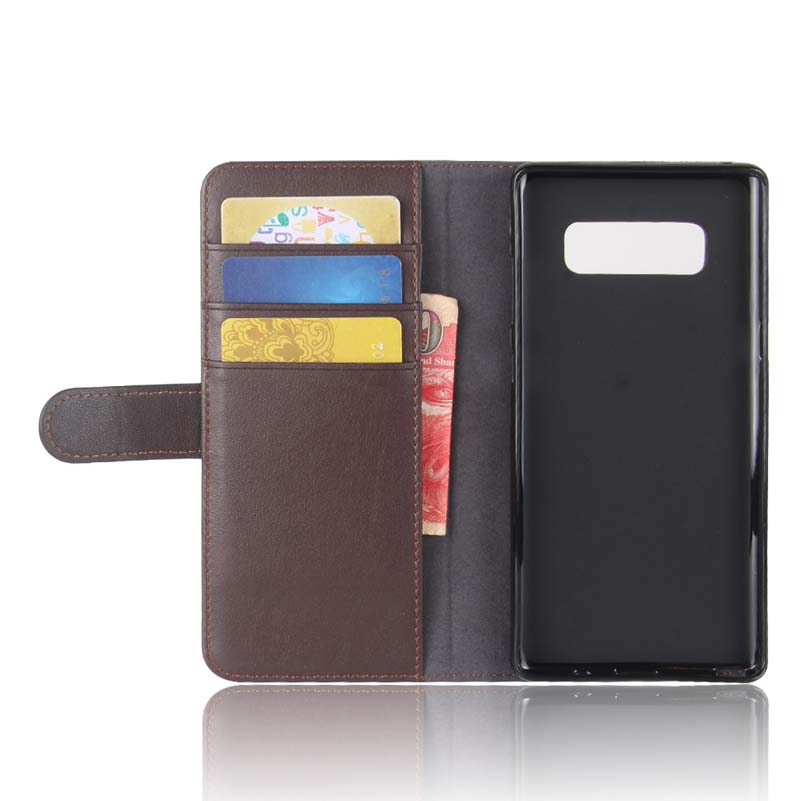 Real Genuine Leather Phone Case For Samsung Galaxy Note 8 Luxury Elegant Magnetic Card Holder Flip Stand Cover Cases For Note 8