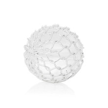 Acrylic Spacer Beads Round Silver Plated Wire Net Wrap White Ball About 11mm Dia,Hole:Approx 1.5mm,30PCs
