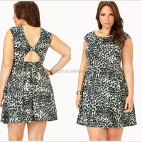 Zippy 2014 New arrival Wild Leopard Skater Dress designs fat ladies/fat women clothes