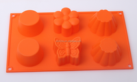 Different shape assorted 6pcs silicone cake mould