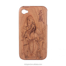 Chinese Legend Guangong Pattern Hard Wood Phone Case for iPhone 5 6 6plus