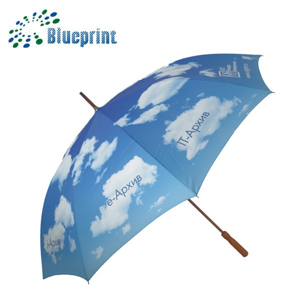 "30"" auto open wooden big umbrella blue sky"