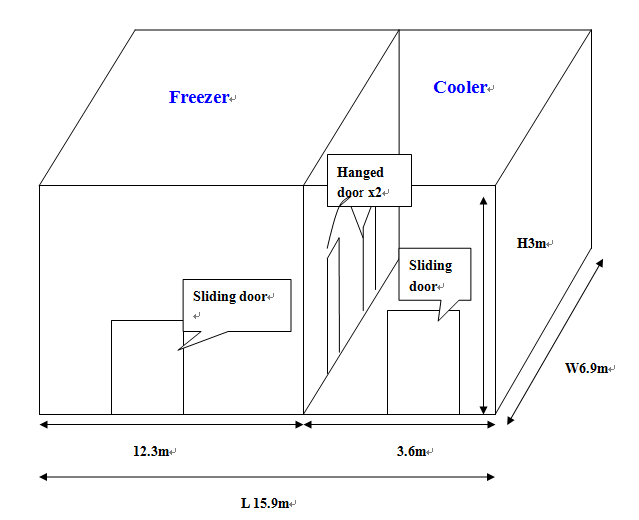 modular fish cold storage, meat cold room freezer room