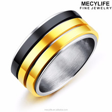 MECYLIFE Three Lines Spinners Ring Men's Black And Gold Titanium Ring