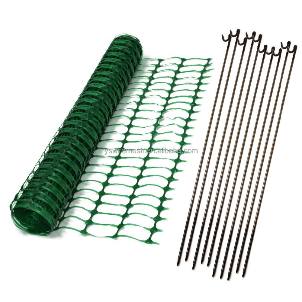 Green Barrier Mesh Fencing Plastic Safety Site Temporary Fence And Essential Pins