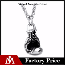 Wholesale Newest Boxing Gloves Pendant with Stainless Steel Silver Necklace Unisex Jewelry