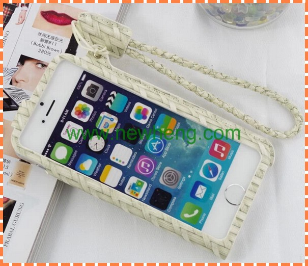 Fashion ultra-thin hang rope denim case for iphone5