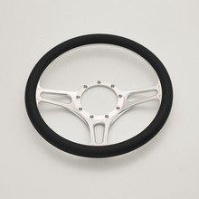 "China Troika 14"" Silver Aluminum Billet Steering Wheel Half Wrap for Banjo GM"