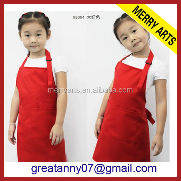 100%Polyester Waterproof Advertise PVC red color baby advertisement cooking cheap wholesale apron