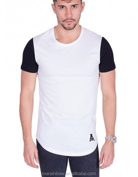 95% Cotton 5% Spandex White Longline Curved Hem T Shirt with Black Sleeve Custom Mens Gym Clothing