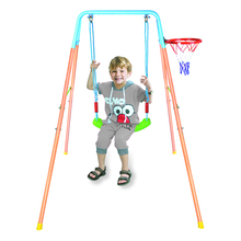 Swings toy - outdoor single children swings with basketball hoop