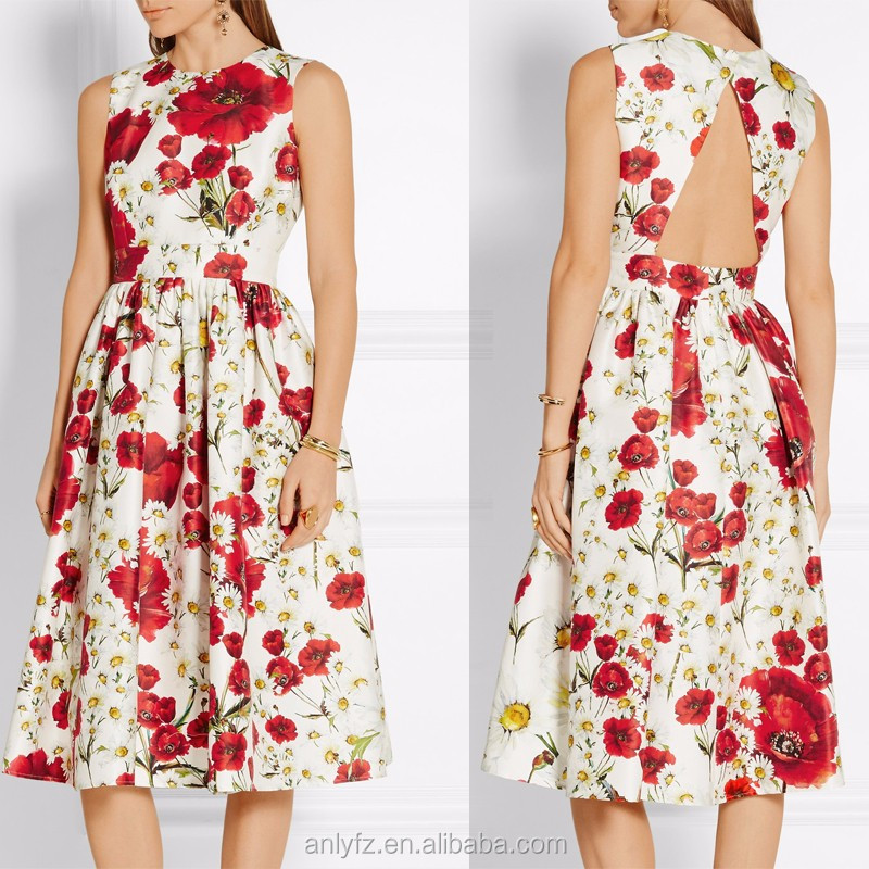 Anly women eveing dress 2016 high waist floral printed backless dress for women apparel
