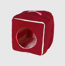 Professional manufacturer pet bed with handle warm red canopy dog beds